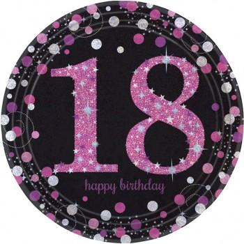Assiettes anniversaire 18 ans rose