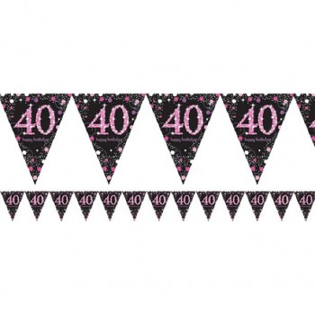 Guirlande anniversaire 40 ans rose