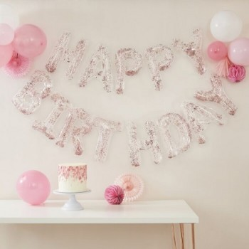 Guirlande de ballons rose joyeux anniversaire