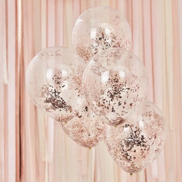 ballons à confettis rose gold