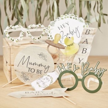 """Accessoires photo baby shower botanique """"Hey baby"""""""