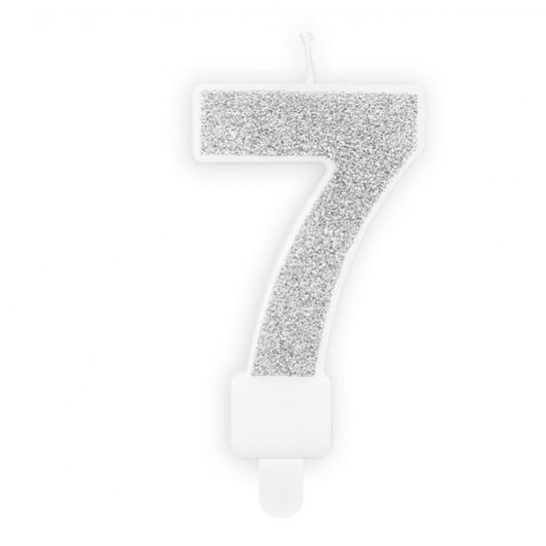 BOUGIE NUMERO 7 EN ARGENT PAS CHER