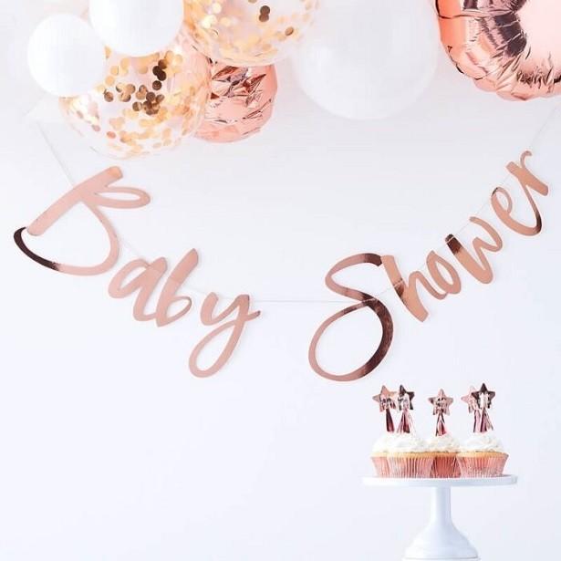 guirlande baby shower rose gold en suisse