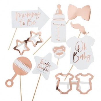 ACCESSOIRES PHOTOBOOTH BABY SHOWER ETOILE ROSE GOLD PAS CHER