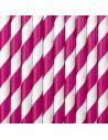 Pailles en papier rose et blanc