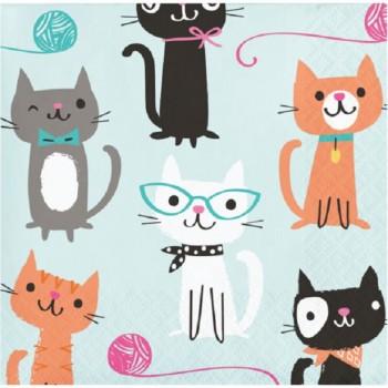 petites serviettes anniversaire chat