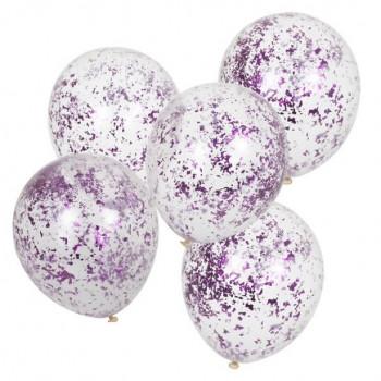ballons en latex avec confettis roses brillants en suisse