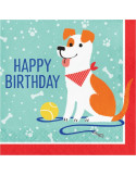 serviettes happy birthday theme chiens