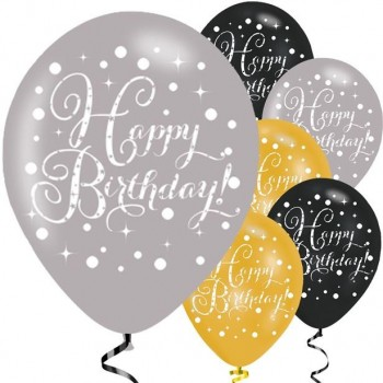 Ballons happy birthday noir argent or