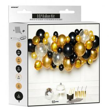 kit arc de ballons doré et noir pas cher
