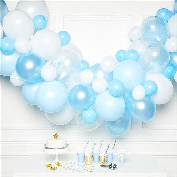 arche de ballons bleu et blanc en suisse