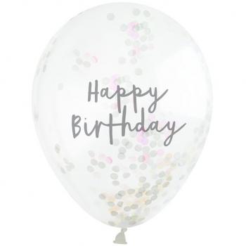 ballons à confettis irisés happy birthday en suisse